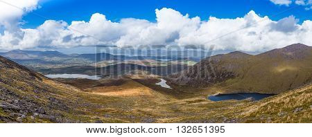 Panorama Of Valleys And Mountains In County Kerry On A Summer Day