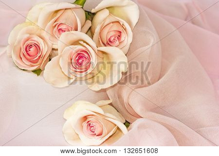 Five Pink Tea Roses with Darker Centres with Soft Silk Chiffon