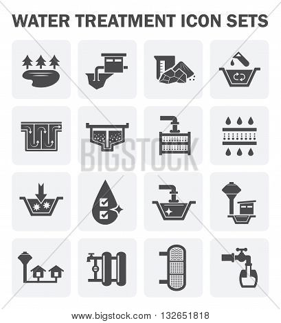 Water treatment water supply vector icon sets design.