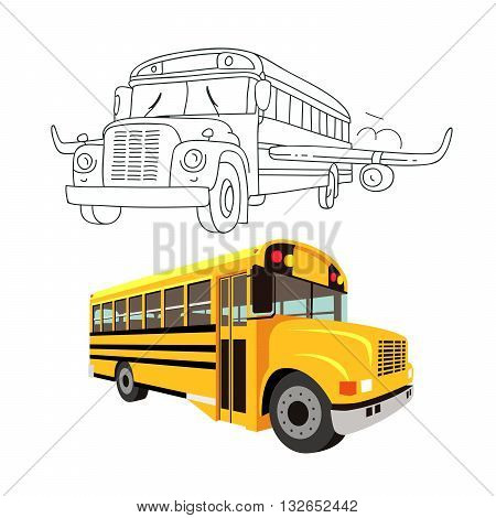 Flying school bus with wings of an airplane. Yellow school bus. Vector illustration on white background. The concept of school education.