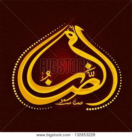 Glossy golden Arabic Calligraphy text Ramazan on red grunge background for Holy Month of Muslim Community Festival Celebration.
