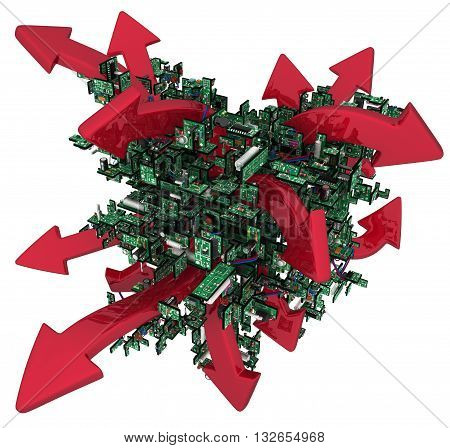 Electronic circuit red arrows abstract over white 3d illustration