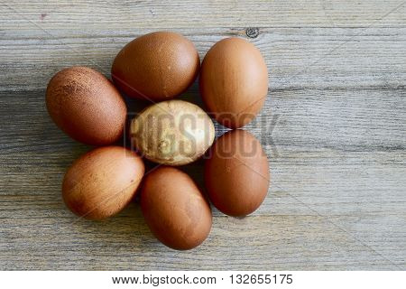 seven painted Easter eggs on a wooden table