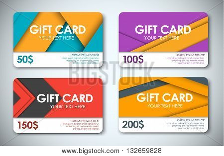 Set Of Gift Cards In The Style Of The Material Design