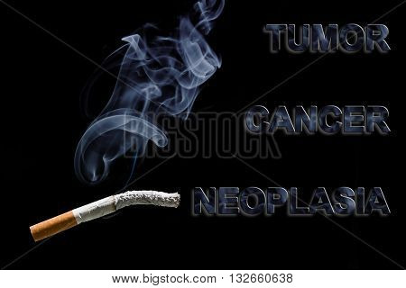 Burned cigarette and text Cancer Tumor and neoplasia