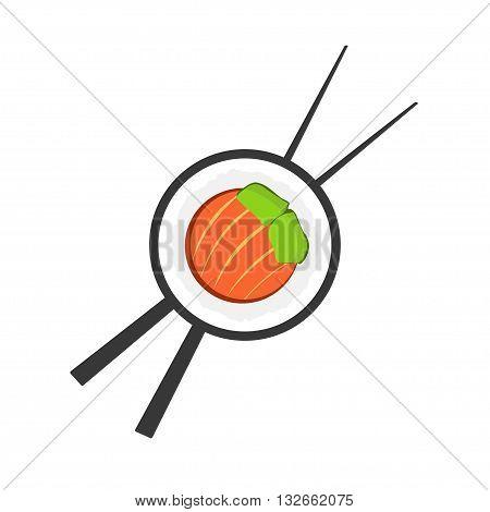 Sushi roll with chopsticks logo, sushi logotype, sushi bar symbol, sushi roll flat icon, sushi close up emblem, cartoon vector illustration modern simple design isolated on white background