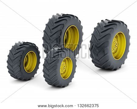 Image of tractor wheels isolated on white background