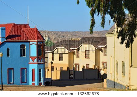 LUDERITZ NAMIBIA - JAN 26 2016: Typical architecture in Luderitz Luderitz is a harbour town in southwest Namibia lying on one of the least hospitable coasts in Africa