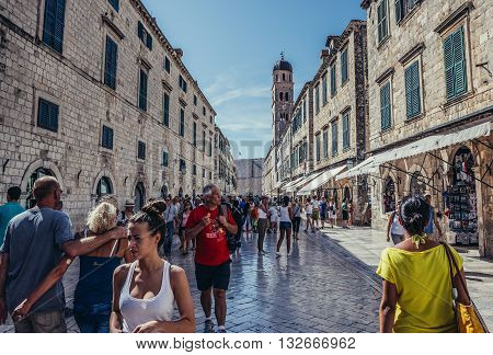 Dubrovnik Croatia - August 26 2015. Tourists walks at main street of Old Town in Dubrovnik called Stradun