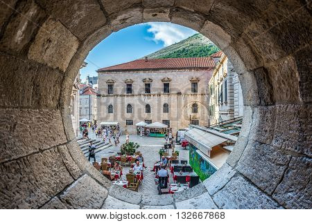 Dubrovnik Croatia - August 26 2015. Dubrovnik Croatia - 26th August 2015. Tourists in restaurant located on the Old Town of Dubrovnik