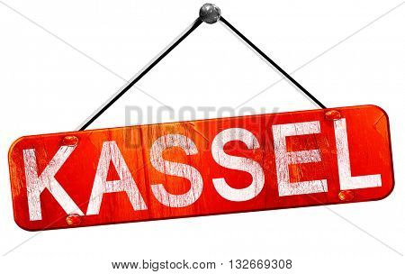 Kassel, 3D rendering, a red hanging sign