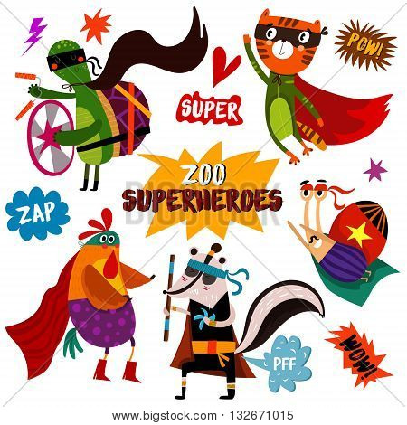 Part 2. Superhero Animals: Turtle, Tiger, Cock, Skunk, Snail.awesome Childish Collection  In Cartoon