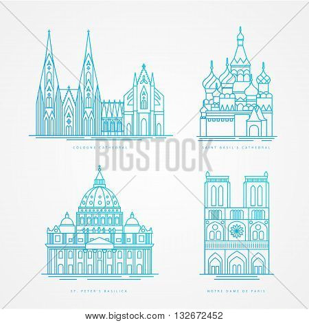 Linear icion set. World famous cathedral. Landmarks of europe.. Cologne Cathedral Notre Dame de Paris Cathedral St. Peter Basilica St. Basil Cathedral