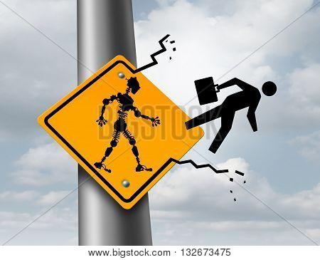 Robots taking jobs technology and employment concept as a robotic cyborg kicking out a human worker out of a sign as a metaphor for the effects of automation with 3D illustration elements.