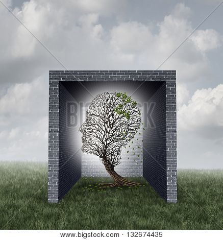 Emotional walls psychological concept as a tree shaped as a human head losing leaves inside a brick wall box as a feelings metaphor and social isolation symbol with 3D illustration elements.