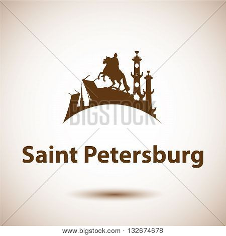 Vector silhouette of St. Petersburg. Bronze Horseman, Peter and Paul Fortress, Rostral column the symbol of Saint Petersburg, Russia
