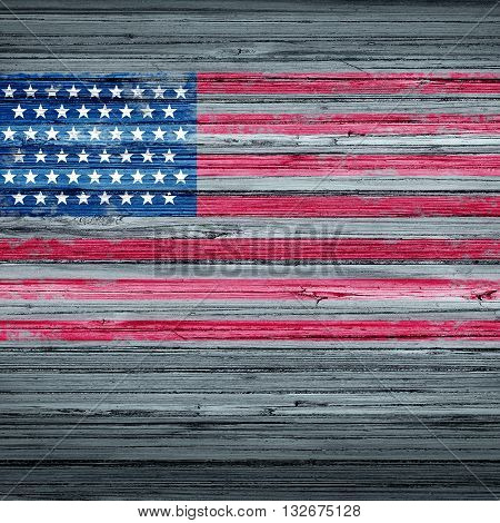 American remembrance day background rustic antique USA flag painted on old weathered wood as a patriotic symbol for memorial day observance as a traditional holiday symbol to honor the veterans in a 3D illustration style. poster