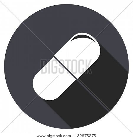 drugs vector icon, circle flat design internet button, web and mobile app illustration