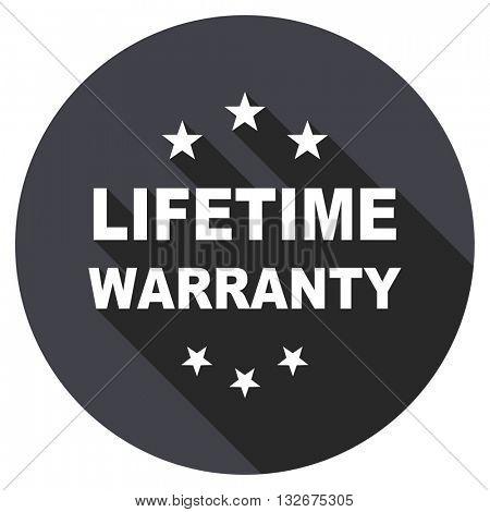 lifetime warranty vector icon, circle flat design internet button, web and mobile app illustration