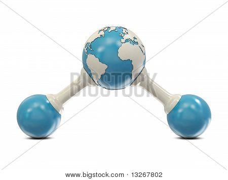 Abstract water molecule with Earth model