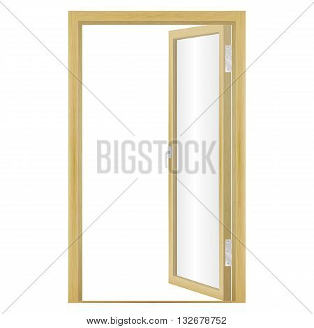 Vector illustration of an open wood door isolated on a white background. Glass door.