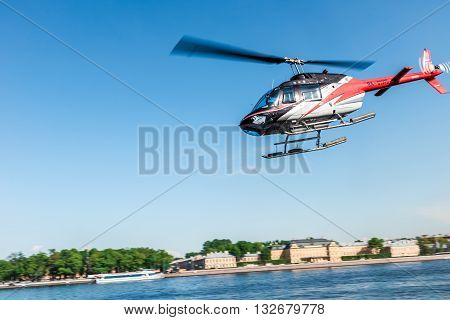 St.Petersburg Russia - May 17 2016: helipad over the Admiralty Embankment Neva River.