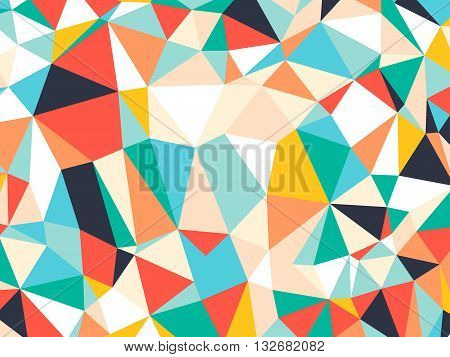 Abstract bright colorful random triangle geometric background, Vector Illustration pattern. Geometric design for business, wallpaper, spring autumn backdrop. Color kaleidoscope: green, yellow, orange