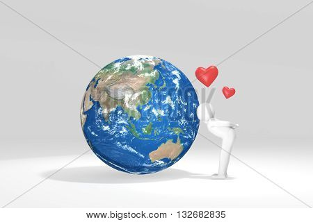 3D man kisses Earth - Asia Oceania Edition (Elements of this image furnished by NASA)