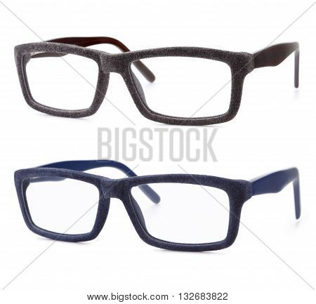 brawn and blue spectacles isolated on white background