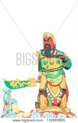 Statue Of Guan Yu Deva [God of honor] Isolated on white background with clipping path, This is public in thailand