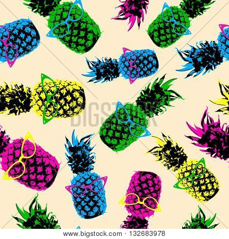 Retro Hipster Summer Pattern With Color Pineapple