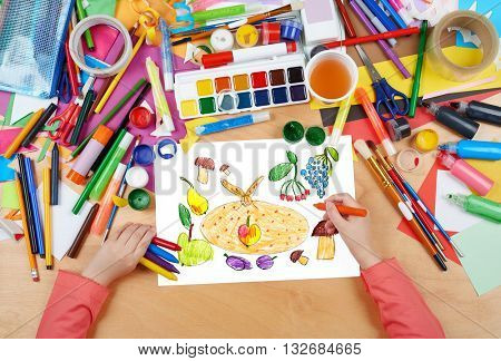 fruits and vegetables painted object set child drawing, top view hands with pencil drawing picture on paper, artwork workplace