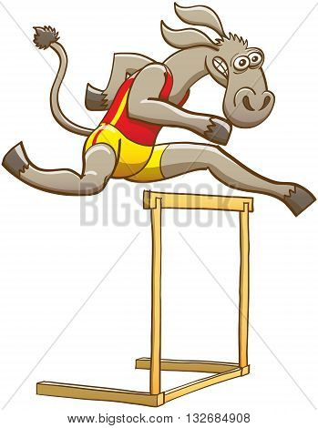 Determined donkey wearing red tank and yellow shorts, feeling courageous and making a big effort while running and jumping over a hurdle