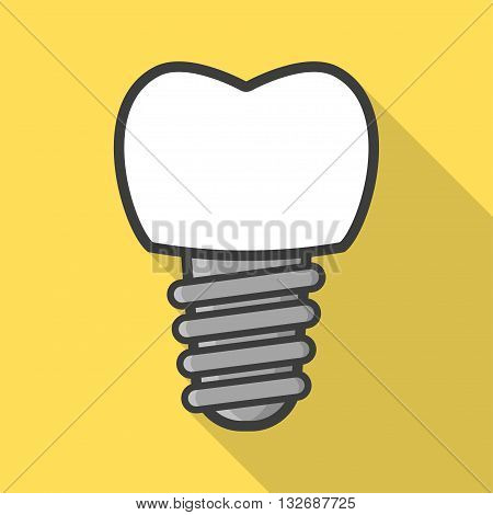 Dental implant in flat style. Tooth implant. Vector illustration