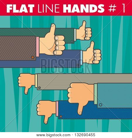 Vector hand style flat line design. Thumbs up, thumbs down, finger, like, not like. For web, print.