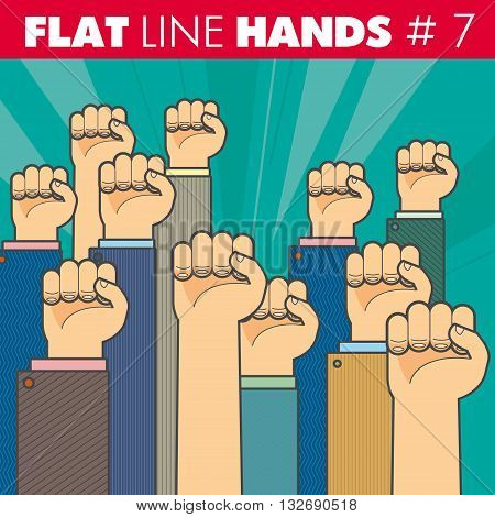 Vector hand style flat line design. The fist illustrates the protest, resistance, strike, revolution. For web, print.