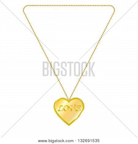 Vector illustration of gold jewelry in the form of heart on a chain. Golden pendant. On an isolated white background. Inscription love.