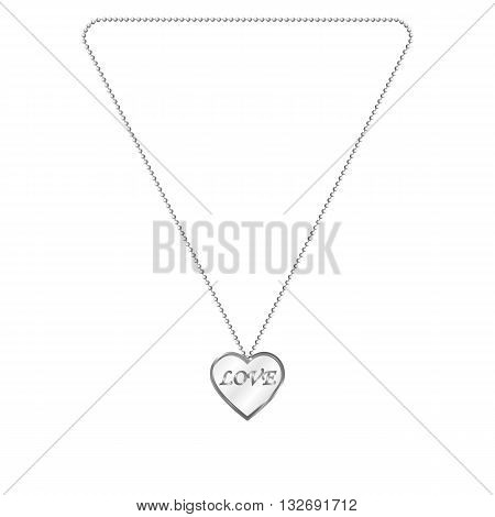 Vector illustration of silver jewelery in the form of heart on a chain. Silver pendant. On an isolated white background. Inscription love.