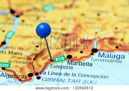 Estepona pinned on a map of Spain