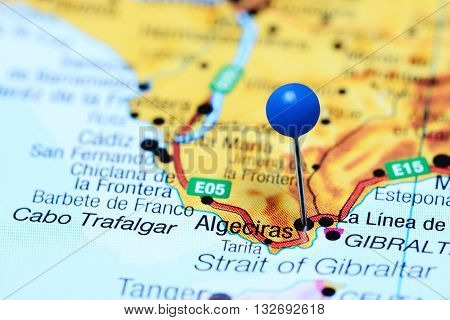 Algeciras pinned on a map of Spain