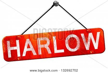 Harlow, 3D rendering, a red hanging sign