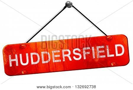Huddersfield, 3D rendering, a red hanging sign