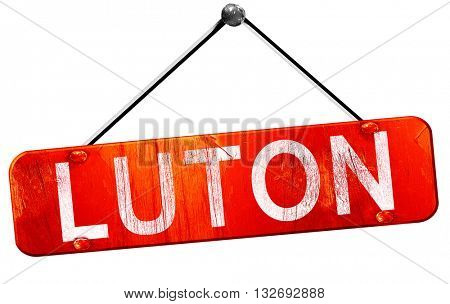 Luton, 3D rendering, a red hanging sign