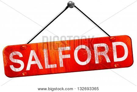 Salford, 3D rendering, a red hanging sign