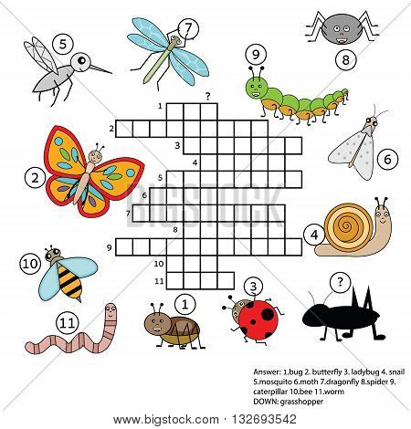 Crossword educational children game with answer. Learning vocabulary animals and insects theme. vector illustration printable worksheet