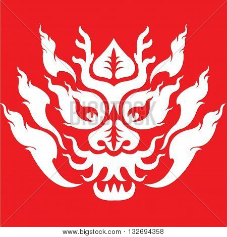 Chinese dragon head tattoo pattern design white on red