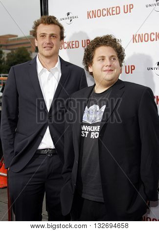 Jason Segel and Jonah Hill at the Los Angeles premiere of 'Knocked Up' held at the Mann Village Theatre in Westwood, USA on May 21, 2007.
