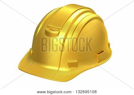 Construction Golden Hard Hat 3D rendering isolated on white background