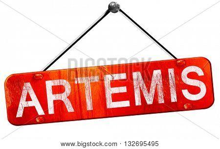 Artemis, 3D rendering, a red hanging sign