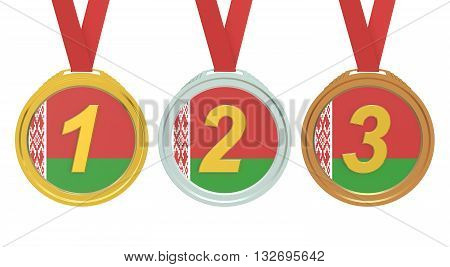 Gold Silver and Bronze medals with Belarus flag 3D rendering